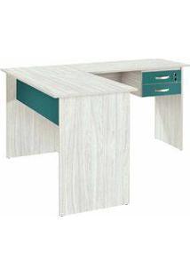 Mesa Para Computador Em L Com 2 Gavetas Atrativa Color Legno/Esmeralda - Plata Móveis
