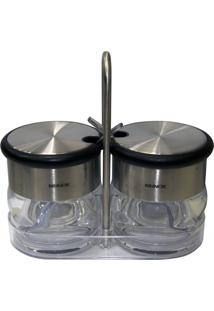Conjunto Brinox 2 Peã§As Porta Condimentos Com Colher Prata - Prata - Dafiti
