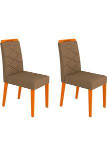 Conjunto Com 2 Cadeiras Caroline I Ipê E Marrom