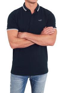Camiseta Polo Hollister Clássica Azul Marinho 77b17f4cfe367