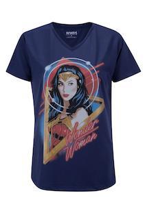 Camiseta Liga Da Justiça Mulher Maravilha Face - Feminina - Azul Escuro