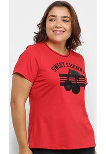 Camiseta Lecimar Sweet Cherry Plus Size Feminina - Feminino-Vermelho