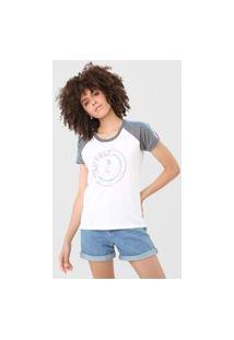 Camiseta Tricats Raglan Lovely Branca/Cinza