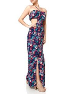 Vestido Longo Feminino Azul Marinho/Rosa
