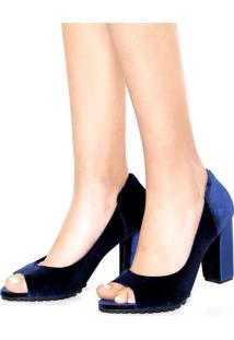 Peep Toe Dafiti Shoes Veludo Azul