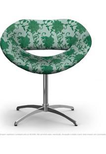 Cadeira Beijo Verde Floral Poltrona Decorativa Com Base Giratória