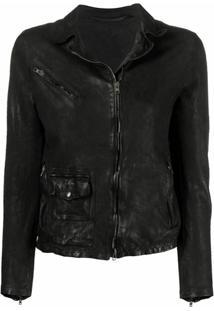 Salvatore Santoro Leather Zipped Jacket - Preto
