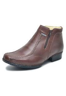 Sapato Social Fepo Store Liso Couro Bico Quadrado Com Cadarço Marrom