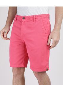 Bermuda Masculina Reta Com Bolsos Rosa Escuro