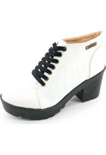 Bota Coturno Quality Shoes Feminina Croco Branco 36