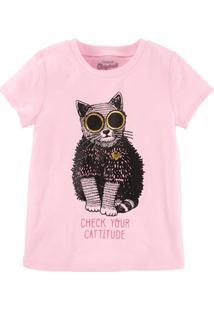 Camiseta Infantil Carter'S Check Your Cattitude Feminina - Feminino-Rosa