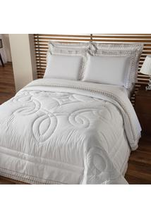 Edredom Solteiro Luxury Poliéster Branco