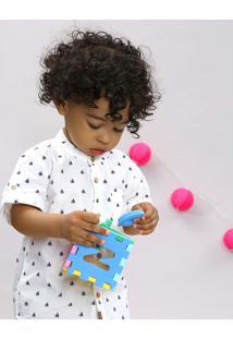 Camisa Infantil Estampada De Barco Com Bolso Manga Curta Gola Padre Off White