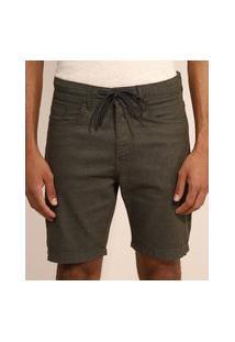 Bermuda De Sarja Masculina Slim Com Cordão Verde Militar