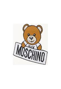 Moschino Kids Cobertor Com Detalhe De Logo - Branco