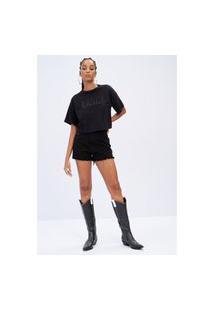 T-Shirt Cropped Com Aplicação Lança Perfume Camiseta Preto