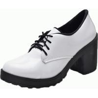 7c0a9377a Sapato Oxford Mel Comfort Tratorado Verniz Branco