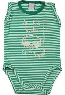 Body Bebê Malha Listrada Lelu Scuba Club - Masculino-Verde