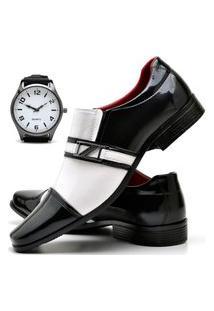 Sapato Social Masculino Com E Sem Verniz Db Now Com Relógio New Dubuy 820Od Branco