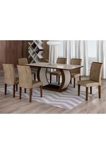 Conjunto De Mesa De Jantar Com Vidro E 6 Cadeiras Maia Iii Suede Animalle Castor E Chocolate