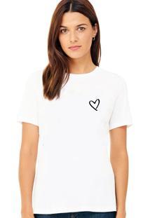 Camiseta Suffix Branca Estampa Coração