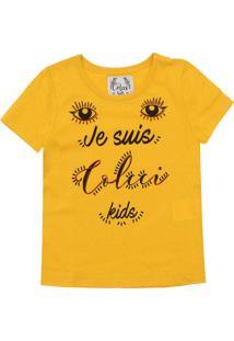 Camiseta Colcci Fun Menina Escrita Amarela