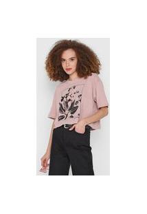Camiseta Cropped Osklen Big Leaf Rosa