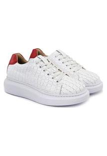 Tênis Sneaker De Griffe Feminino Couro Flatform Confortável Rosa Claro 33 Branco