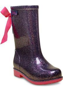 bc9b2f0f103 Bota Fem Infantil Grendene 21390 Barbie Galocha Power Fashion Lilas Glitter  Rosa