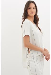 Camiseta Le Lis Blanc Fernanda Eyelets 2 Listrado Feminina (Glace With Dark Blue Stripes, Gg)