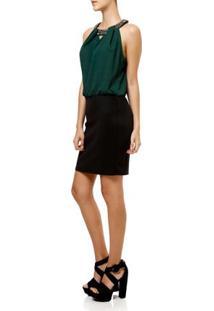 Vestido Curto Feminino Verde/Preto