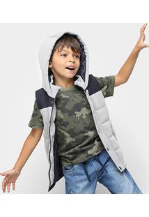 Colete Infantil Zeep! Puffer Capuz Masculino - Masculino-Mescla