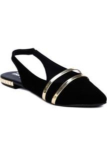 Sapatilha Chanel Feminina Moleca Preto/Dourado