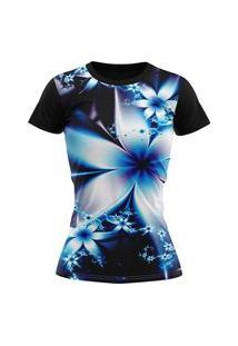 Camiseta Feminina Lucinoze Camisetas Manga Curta Flores Preta