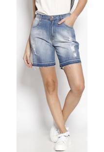 8ba7ce8a37f0 Bermuda Jeans Estonada Com Puídos- Azul Clarodenuncia