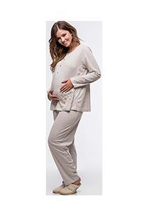 Pijama Longo Gestante Estampado Em Poá - Danka 7655