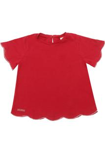 Camiseta Green Menina Lisa Vermelha