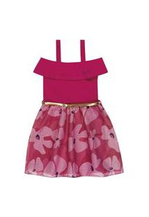 Vestido Lecimar Kids Em Cotton E Tule Alto Veráo Rosa Escuro
