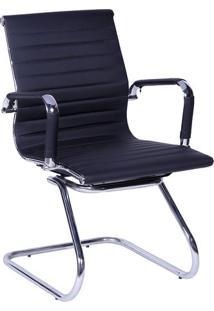 Cadeira Office Eames Esteirinha- Preta & Prateada- 8Or Design