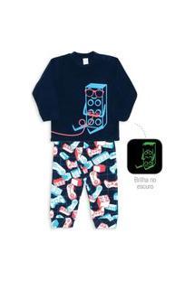 Pijama Microsoft Brilha No Escuro Menino Inverno Dedeka Estampado