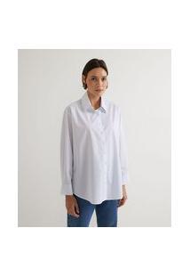 Camisa Manga Longa Em Tricoline Com Listras E Pregas No Punho   Marfinno   Branco   G