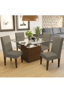 Mesa De Jantar Com 4 Cadeiras Csj127Waf – Kappesberg - Cacau