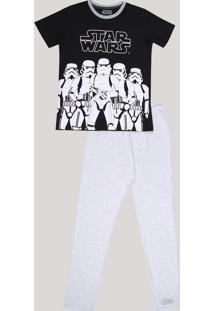 Pijama Juvenil Star Wars Manga Curta Preto