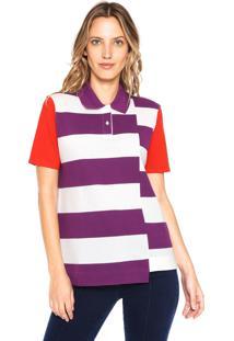 Camisa Pólo Manga Curta Roxa feminina  d5e830c5e8fd4
