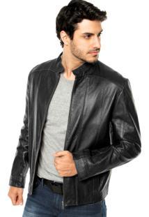 Jaqueta Couro Calvin Klein Jeans Recortes Preta 9a581b761a