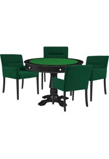 Mesa De Jogos Carteado Victoria Redonda Tampo Reversível Preto Com Kit 4 Cadeiras Vicenza Verde - Gran Belo