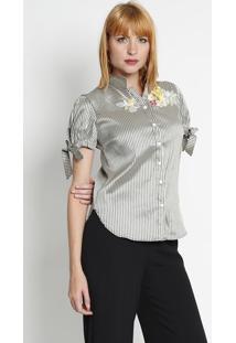 Camisa Listrada Com Bordado - Cinza   Verde Militar Silk Lord 61c0865f01517