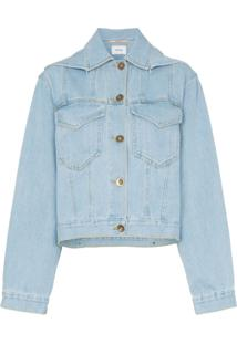 Nanushka Jaque Jeans Cropped Mojave Com Capuz - Azul