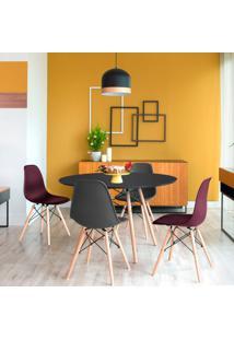 Conjunto De Mesa De Jantar Com 4 Cadeiras Eames Eiffel Premium Preto E Vinho