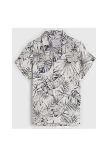 Camisa Malwee Kids Infantil Folhagem Off-White/Cinza